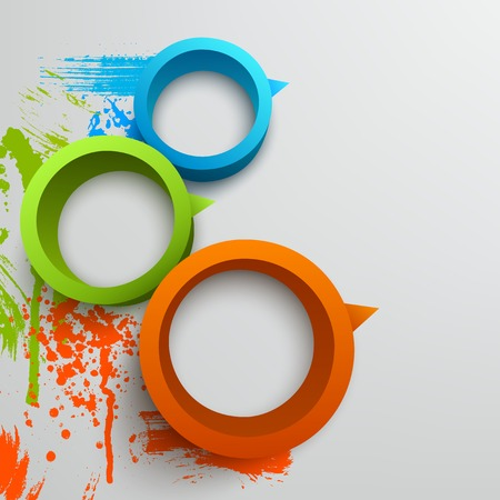 Vector illustration of 3d rings. Background design for banner, poster, flyer. Hand drawn watercolor paint splash.