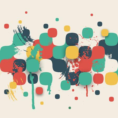Vector achtergrond. Illustratie van abstracte textuur met vierkanten en verfspatten. Patroonontwerp voor banner, poster, flyer, kaart, ansichtkaart, omslag, brochure. Hand getekende waterverf verf splash.