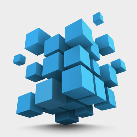 Abstract vector Illustration. Composition of blue 3d cubes. Background design for banner, poster, flyer. Logo design. Çizim