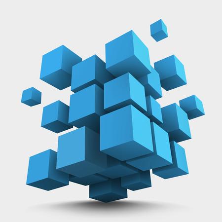 Abstract vector Illustration. Composition of blue 3d cubes. Background design for banner, poster, flyer. Logo design. Illustration