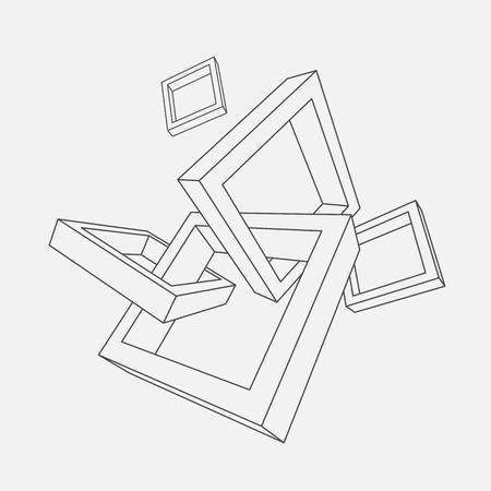 Abstract vector illustratie van 3d frames met plaats voor tekst. Stock Illustratie