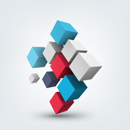 block: Abstract vector Illustration. Composition of 3d cubes. Background design for banner, poster, flyer. Logo design.
