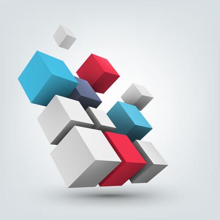 Ilustración de vectores de fondo. Composición de los cubos 3d. Antecedentes de diseño para la bandera, cartel, folleto. Diseño de logotipo.