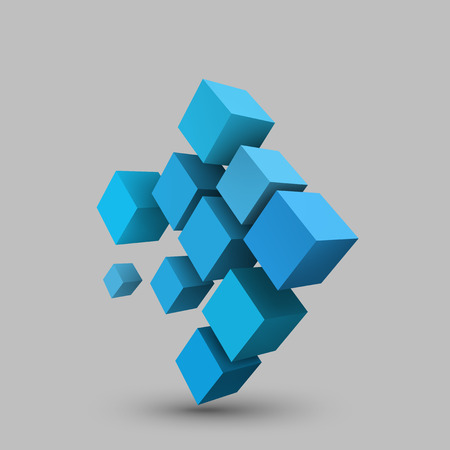 Abstract vector Illustration. Composition of 3d cubes. Background design for banner, poster, flyer. Logo design.