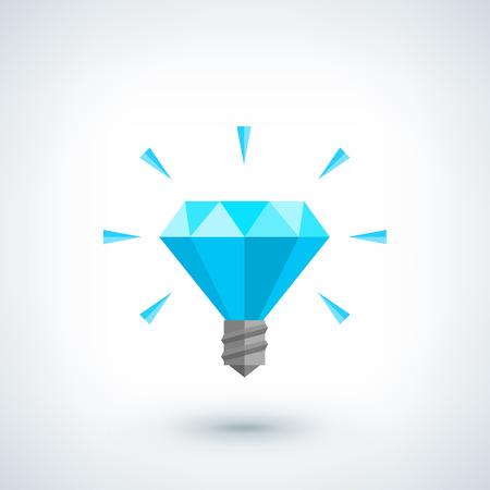 bombilla: Concepto de idea brillante. Bombilla icono vector poligonal. Ilustración Diseño plano, estilo de bajo poli. Diseño creativo, fondo abstracto para el cartel, folleto, cubierta, folleto, idea de negocio. Diseño de logo.
