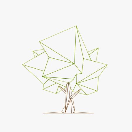 概念的な多角形のツリー。ベクトル図、低ポリゴン スタイルを抽象化します。様式化されたデザイン要素です。背景バナー、ポスター、チラシのデ