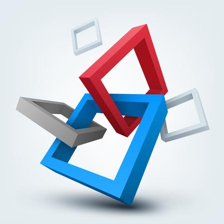 テキストのための場所を含む 3次元形状の抽象的なベクトル イラスト。  イラスト・ベクター素材