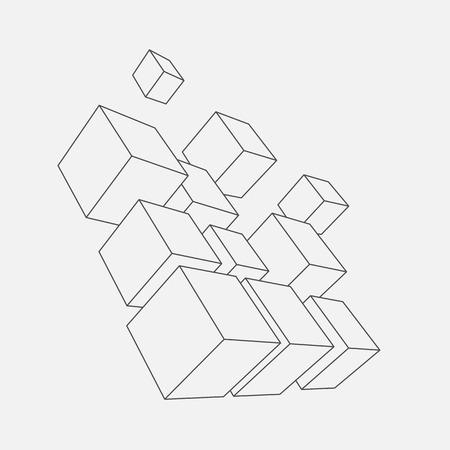 抽象的なベクトルの図。3 d キューブの組成物。背景バナー、ポスター、チラシのデザイン。ロゴデザイン。  イラスト・ベクター素材