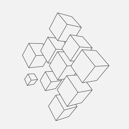network logo: Abstract vector Illustration. Composition of 3d cubes. Background design for banner, poster, flyer. Logo design.