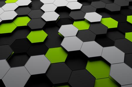 Résumé de rendu 3D de la surface futuriste avec des hexagones. Sci-fi fond. Banque d'images - 42288532