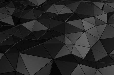 Estratto rendering 3D della superficie nera. Sfondo con futuristico forma poli basso. Archivio Fotografico - 46481764