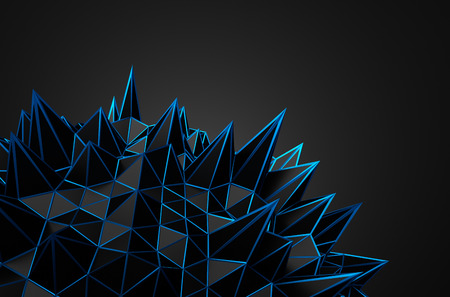 abstract shape: Abstract 3d rendering of black chaotic structure. Dark background with wireframe in empty space. Futuristic shape. Stock Photo