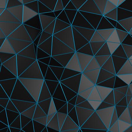黒の表面の 3d レンダリングを抽象化します。未来的な低ポリゴン図形と背景。