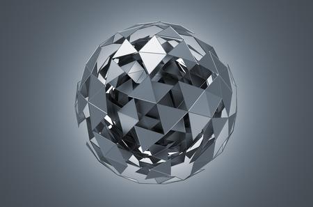 Abstracte 3D-rendering van laag poly metalen bol met chaotische structuur. Sci-fi achtergrond met wireframe en wereldbol in de lege ruimte. Futuristische vorm.