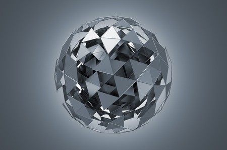 globo mundo: Resumen representaci�n 3D de baja esfera de metal poli con estructura ca�tica. Fondo de ciencia ficci�n con alambre y el globo en el espacio vac�o. Forma futurista. Foto de archivo