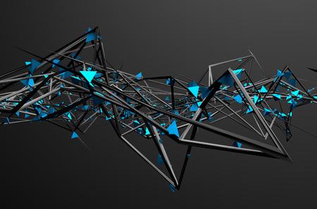 Abstrakt 3D-Rendering von chaotischen Struktur. Dunklen Hintergrund mit futuristischen Form in leeren Raum. Standard-Bild - 42290426