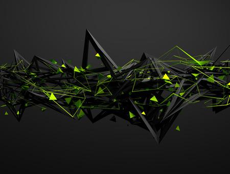 초록: 혼란 구조의 추상 3d 렌더링. 빈 공간에서 미래 지향적 인 형태와 어두운 배경입니다. 스톡 콘텐츠