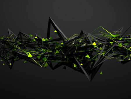 shape: Abstract 3d rendering of chaotic structure. Dark background with futuristic shape in empty space.