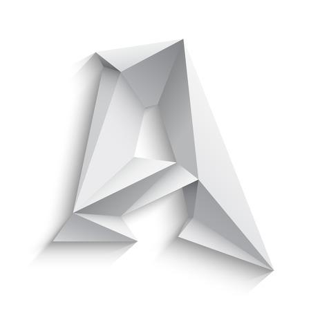 흰색 배경에 3d 문자 A의 벡터 일러스트 레이 션. 아이콘 디자인. 추상 템플릿 요소입니다. 낮은 폴리 스타일의 기호입니다. 그림자와 함께 다각형 글꼴 요소입니다. 장식 종이 접기 기호입니다. 스톡 콘텐츠 - 42931601