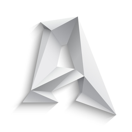 Vector illustration of 3d letter A on white background. icon design. Abstract template element. Low poly style sign. Polygonal font element with shadow. Decorative origami symbol.
