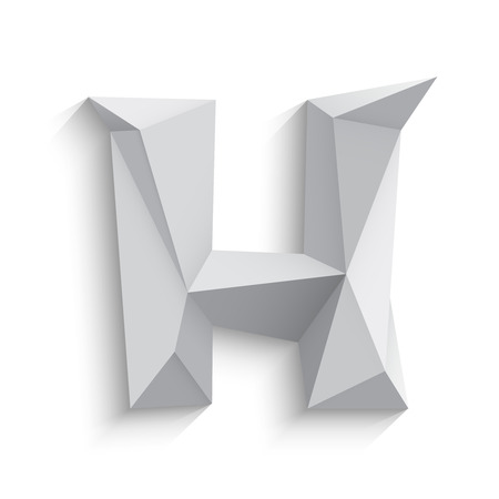 h: Vector illustration of 3d letter H on white background. icon design. Abstract template element. Low poly style sign. Polygonal font element with shadow. Decorative origami symbol.