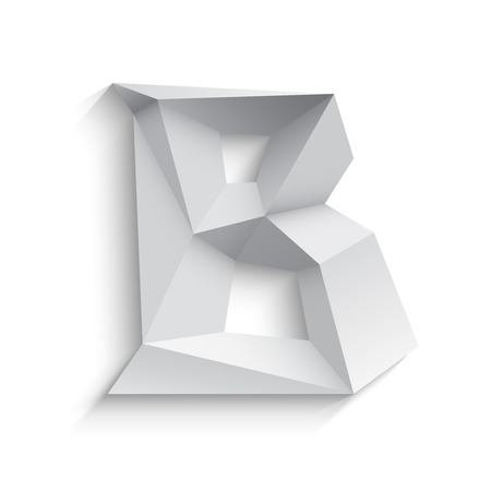 letter b: Vector illustration of 3d letter B on white background. icon design. Abstract template element. Low poly style sign. Polygonal font element with shadow. Decorative origami symbol.