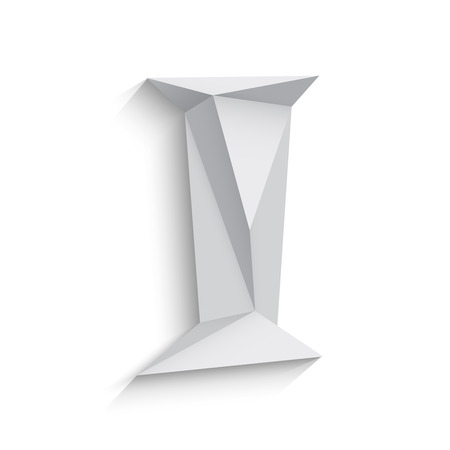a i: Vector illustration of 3d letter I on white background. icon design. Abstract template element. Low poly style sign. Polygonal font element with shadow. Decorative origami symbol. Illustration