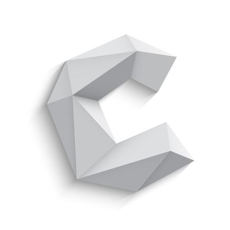 흰색 배경에 3d 편지 C의 벡터 일러스트 레이 션. 아이콘 디자인. 추상 템플릿 요소입니다. 낮은 폴리 스타일의 기호입니다. 그림자와 함께 다각형 글꼴