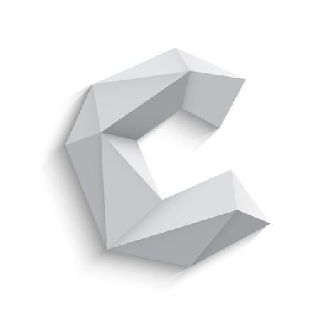 Vector illustration of 3d letter C on white background. icon design. Abstract template element. Low poly style sign. Polygonal font element with shadow. Decorative origami symbol.