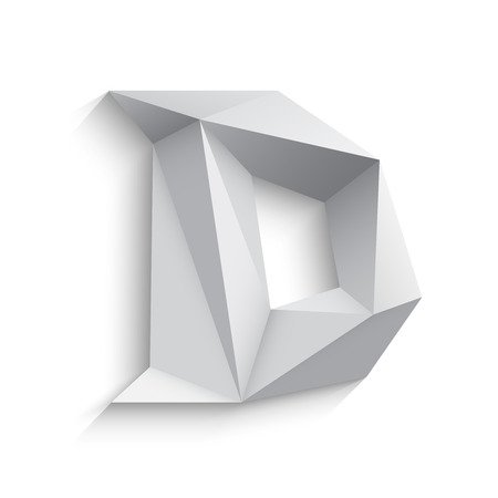 a d: Vector illustration of 3d letter D on white background. icon design. Abstract template element. Low poly style sign. Polygonal font element with shadow. Decorative origami symbol. Illustration