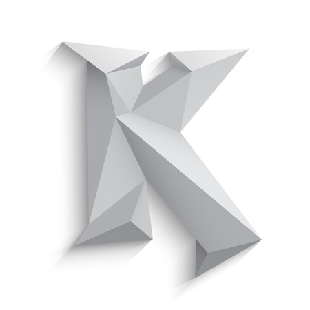 Vector illustration of 3d letter K on white background. icon design. Abstract template element. Low poly style sign. Polygonal font element with shadow. Decorative origami symbol.