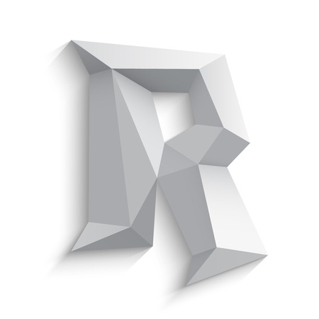 r: Vector illustration of 3d letter R on white background. icon design. Abstract template element. Low poly style sign. Polygonal font element with shadow. Decorative origami symbol.