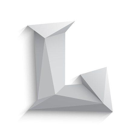 Vector illustration of 3d letter L on white background. icon design. Abstract template element. Low poly style sign. Polygonal font element with shadow. Decorative origami symbol. Ilustracja