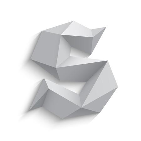 白い背景の 3 d 文字 S のベクトル イラスト。アイコンのデザイン。抽象的なテンプレート要素。低ポリ風の看板。影を持つ多角形のフォント要素。  イラスト・ベクター素材