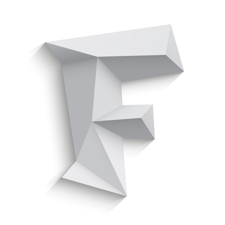 low poly: Vector illustration of 3d letter F on white background. Logo or icon design. Abstract template element. Low poly style sign. Polygonal font element with shadow. Decorative origami symbol.