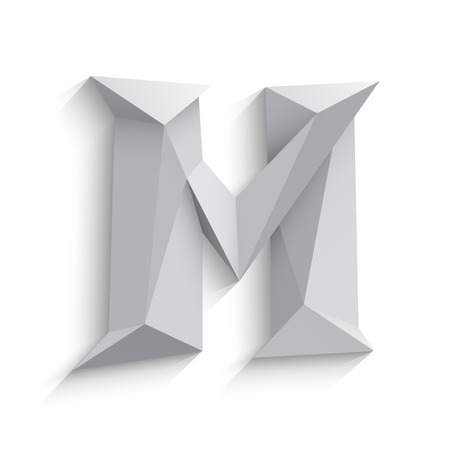 Vector illustration of 3d letter M on white background. icon design. Abstract template element. Low poly style sign. Polygonal font element with shadow. Decorative origami symbol.