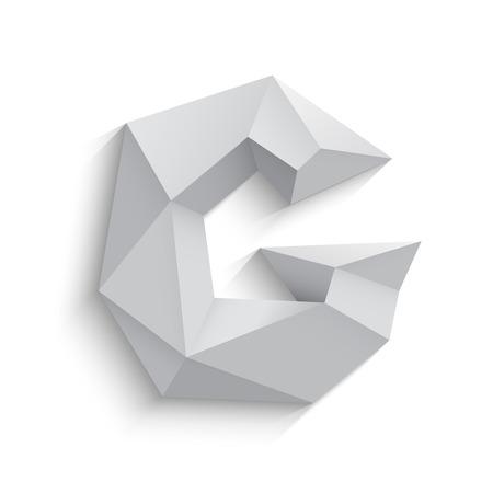 흰색 배경에 3D 편지 G의 벡터 일러스트 레이 션. 아이콘 디자인. 추상 템플릿 요소입니다. 낮은 폴리 스타일의 기호. 그림자와 함께 다각형 글꼴 요소입 일러스트