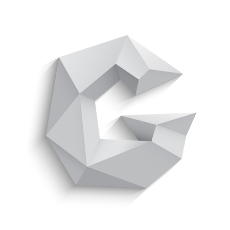 Vector illustration of 3d letter G on white background. icon design. Abstract template element. Low poly style sign. Polygonal font element with shadow. Decorative origami symbol.