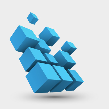 Abstract vector Illustration. Composition of 3d cubes. Background design for banner, poster, flyer. icon design.