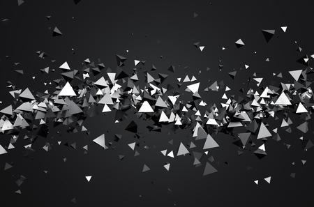 혼란 입자의 추상 3d 렌더링. 빈 공간에 과학 Fi를 피라미드. 미래의 배경.