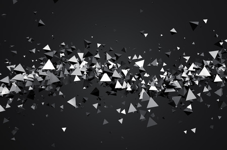 Abstract 3d rendering of chaotic particles. Sci fi pyramids in empty space. Futuristic background.