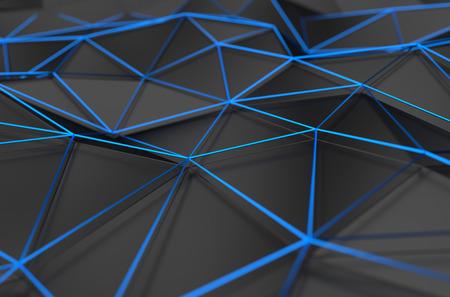 Résumé de rendu 3D de la surface noire. Contexte avec une faible forme poly futuriste. Banque d'images - 43130817