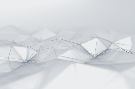 기술: 흰색 표면의 추상 3d 렌더링. 미래 낮은 폴리 모양 배경입니다.