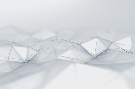 3D rendering: Abstract 3d rendering of white surface. Background with futuristic low poly shape. Stock Photo