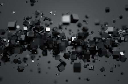 混沌とした粒子の 3 d レンダリングを抽象化します。空の領域に Sci fi キューブ。未来的な背景。