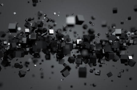 Abstract 3d rendering of chaotic particles. Sci fi cubes in empty space. Futuristic background.
