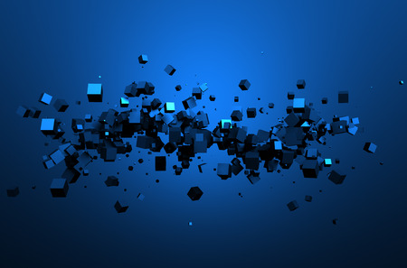 Abstract 3d rendering of chaotic particles. Sci fi cubes in empty space. Futuristic background. 免版税图像 - 46481957