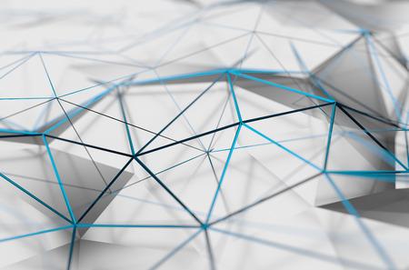 Abstrakt 3D-Rendering von weißen Oberfläche. Hintergrund mit futuristischen Low-Poly-Form.