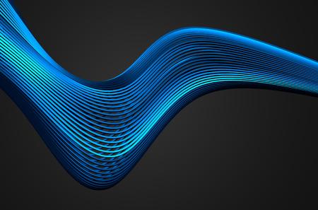 Abstrakt 3d-rendering von High-Tech-Metall-Struktur. Dunklen Hintergrund mit Chrom-Linien in leeren Raum. Futuristischer Stahlform. Standard-Bild - 43550270