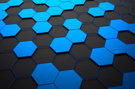 Estratto rendering 3D di superficie futuristico con esagoni. Sfondo scuro fantascienza. Archivio Fotografico - 43550272